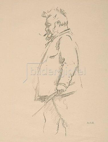 Emil Orlik: Max Slevogt mit Zigarre. Um 1917