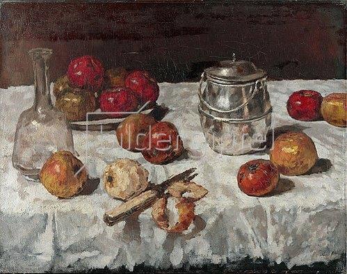 Carl Schuch: Stillleben mit Äpfeln und Keksdose. Um 1887
