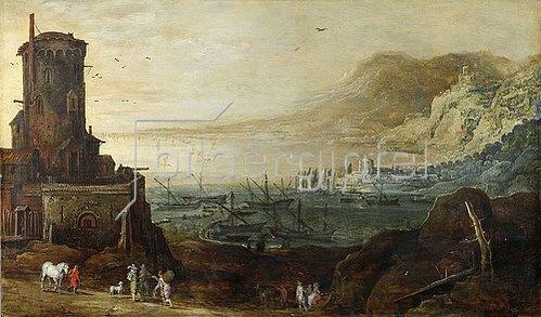Jan Brueghel d.Ä.: Hafenlandschaft mit Befestigungsturm. Um 1610/20