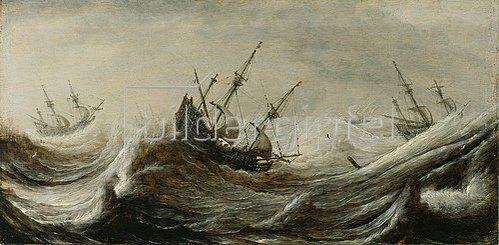 Pieter Mulier: Schiffe in stürmischer See.