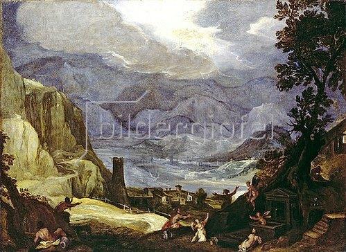 Lodewijk (gen. Pozzoserrato) Toeput: Landschaft mit Sturz des Phaethon. 1599