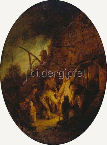 Adriaen van Ostade: Bauerngesellschaft beim Schlachten. 1640er Jahre