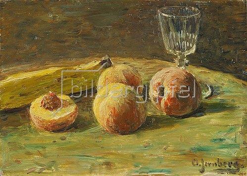 Olof Jernberg: Stillleben mit Pfirsichen und Weinglas. Um 1890