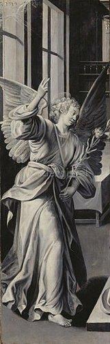 Marten de Vos I.: Verkündigungsengel (Flügelaltar, Außenflügel links). Nach 1569 (siehe auch Bildnummer 35459)