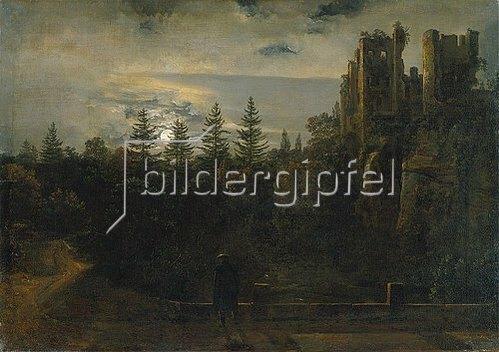 Johan Christian Clausen Dahl: Der Lohmener Grund im Mondschein (Mit der Ruine von Tharandt). 1819