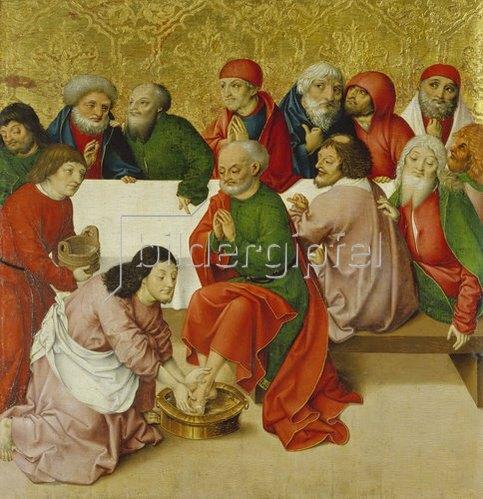 Rueland Frueauf d.Ä.: Passionsaltar. Um 1470/1480. Fußwaschung.