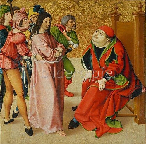 Rueland Frueauf d.Ä.: Passionsaltar. Um 1470/1480. Christus vor Kaiphas.
