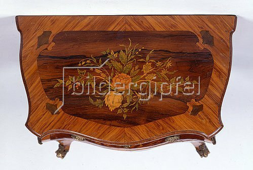 SMALL INLAID COMMODE WITH TWO DRAWERS.