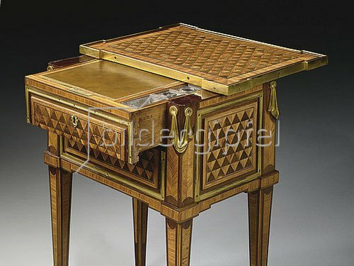 TABLE A ECRIRE D'EPOQUE LOUIS XVI ESTAMPILLE DE PIERRE ROUSSEL.