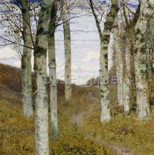 Hans am Ende: Birken im Herbst. Um 1898
