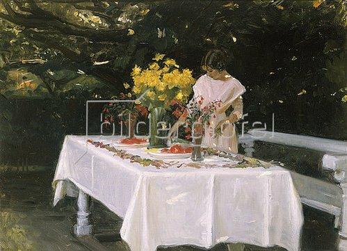 Michael Peter Ancher: Bei Decken der Tafel.