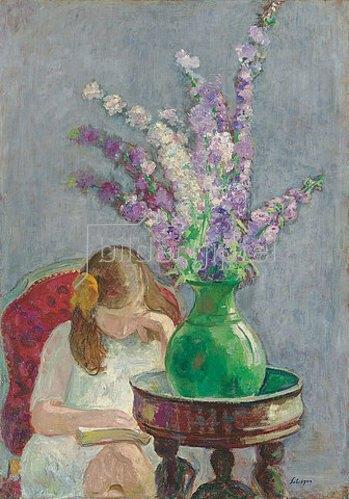 Henri Lebasque: Lesendes Mädchen mit Blumenvase. Um 1909
