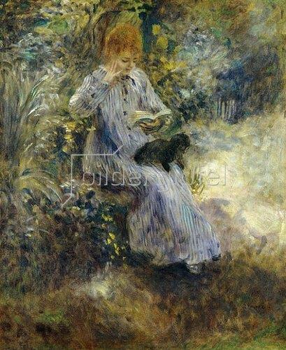 Auguste Renoir: Lesende Frau mit schwarzem Hund. 1874