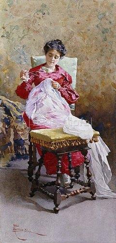 Paolo Bedini: Handarbeitende Frau.