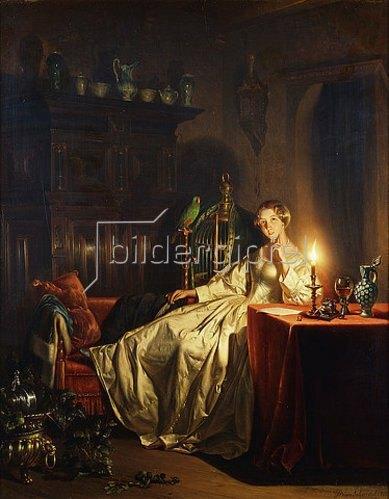 Petrus van Schendel: Dame im Kerzenschein. 1865