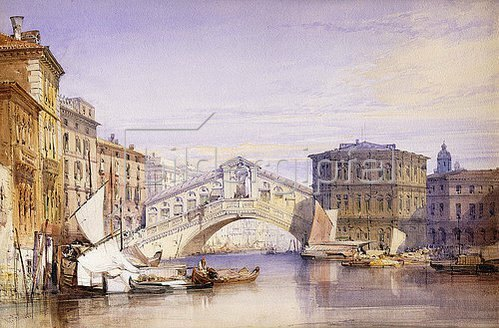 William Callow: Die Rialto Brücke in Venedig. 1852