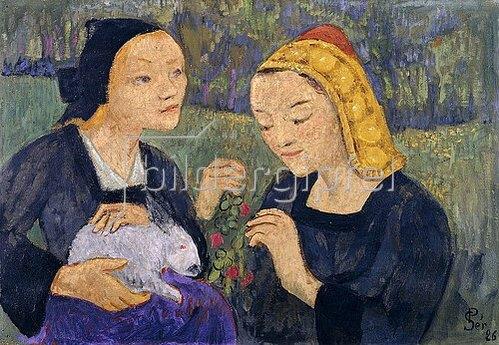 Paul Serusier: Zwei Mädchen mit einem Hasen. 1926