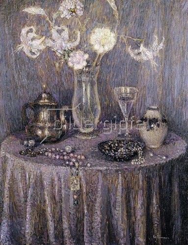 Henri Le Sidaner: Der Tisch, Harmonie in grau. 1927