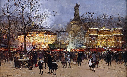 Eugene Galien-Laloue: La Fête, Place de la Republique, Paris.