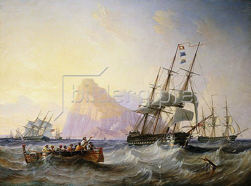 John Wilson Carmichael: Kriegsschiffe vor Gibraltar. 1855