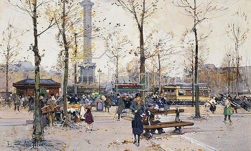 Eugene Galien-Laloue: Place de la Bastille, Paris.