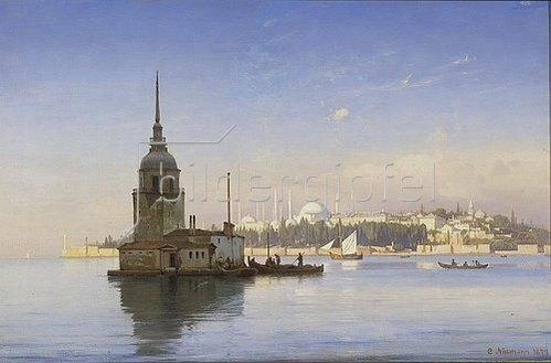 Carl Neumann: Der Leanderturm (Mädchenturm) mit Istanbul im Hintergrund. 1877