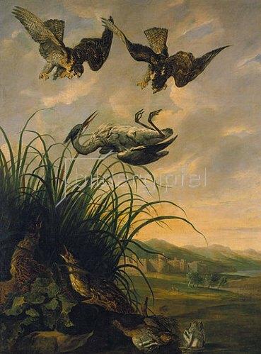Jan Fyt: Wanderfalken stoßen auf einen Reiher.
