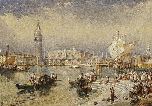 Myles Birket Foster: Der Dogenpalast von den Stufen San Giorgio Maggiores aus.