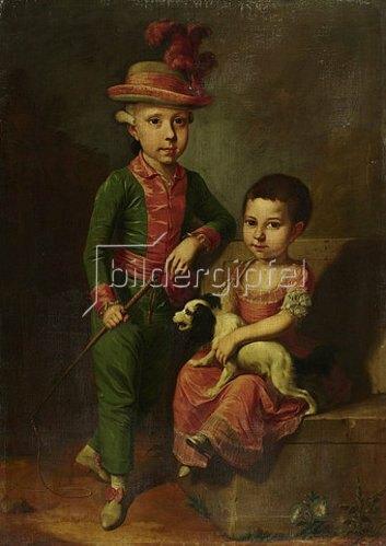 Jacob ? Tischbein: Doppelbildnis des Johann Georg von Holzhausen (1771-1846) und seiner Schwester Henriette (1773-1834). Um 1775