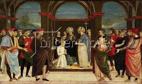 Umbrischer um 1500 (Perugino-Nachfolge) Meister: Die Einkleidung des heiligen Augustinus durch den heiligen Ambrosius. Um 1510