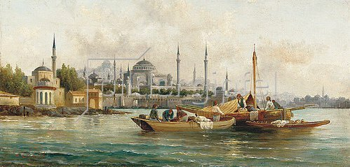 Anton Schoth: Handelsschiffe vor der Hagia Sophia, Istanbul.