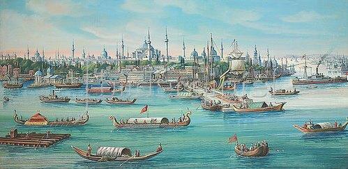 Jean Spath: Ansicht von Konstantinopel vom Wasser aus. 1897