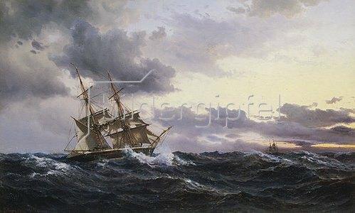 Wilhelm Melbye: Segelschiffe in einem Seesturm. 1879