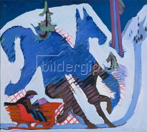 Ernst Ludwig Kirchner: Schlittenfahrt. 1927/28