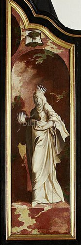 Nordniederländischer Meister: Triptychon mit der Kreuzigung Christi, Heiligen und Stifterfamilie. Rechter Außenflügel: Heilige Elisabeth.
