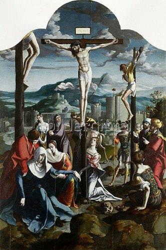 Nordniederländischer Meister: Triptychon mit der Kreuzigung Christi, Heiligen und Stifterfamilie. Mitteltafel: Kreuzigung Christi.