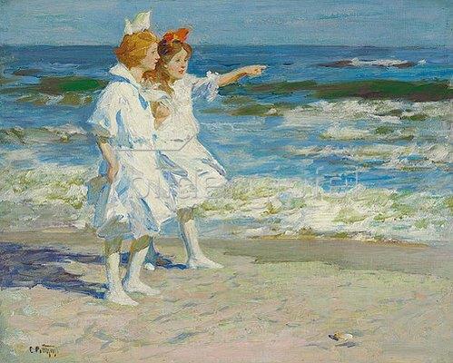 Edward Henry Potthast: Mädchen am Strand.