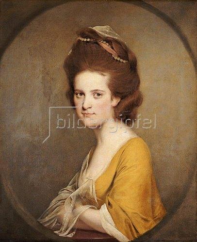 Joseph Wright of Derby: Dorothy Hodges (1752-1800) in einem gelben Kleid.