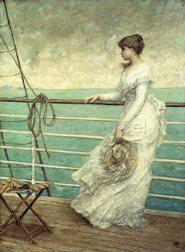 Französisch: Dame auf einem Schiffsdeck.