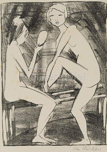 Otto Mueller: Zwei Akte mit Handspiegel.