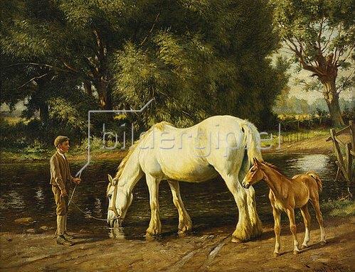 Wright Barker: Eine Stute mit ihrem Fohlen an einer Furt.