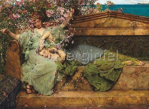 Sir Lawrence Alma-Tadema: Im Rosengarten.