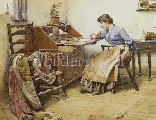 Walter Langley: Beim Verfassen eines Briefs. 1887