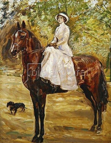 Max Slevogt: Dame im weißen Reitkleid zu Pferde. 1910