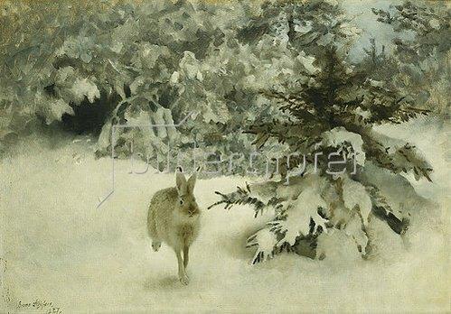 Bruno Andraes Liljefors: Ein Hase im Schnee. 1927