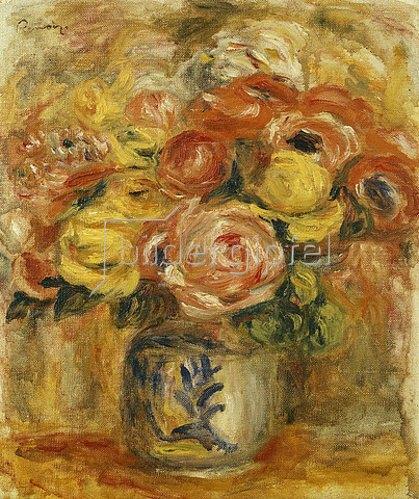 Auguste Renoir: Blumenstrauß in einer blau-weißen Vase. 1915