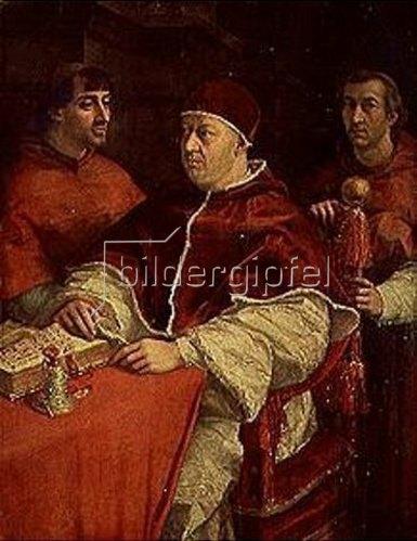 Raffael (Raffaello Sanzio): Papst Leo X. mit den Kardinälen Giulio de Medici und Luigi Rossi. Um 1518/1519.