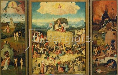 Hieronymus Bosch: Triptychon, Der Heuwagen. (Totale, geöffnet) Um 1490