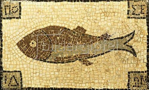 Unbekannter Künstler: Römisches Mosaik mit Fischmotiv. Ca. 4.-5. Jh. n.Chr.