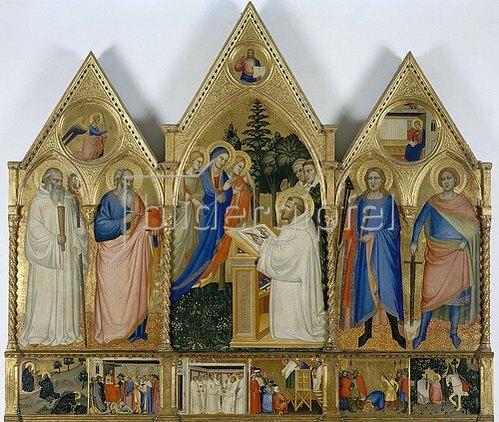 Matteo di Pacino: Die Jungfrau erscheint dem hl. Bernhard von Clairvaux und anderen Heiligen. Um 1365